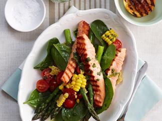 Paleo barbecued spring asparagus with salmon