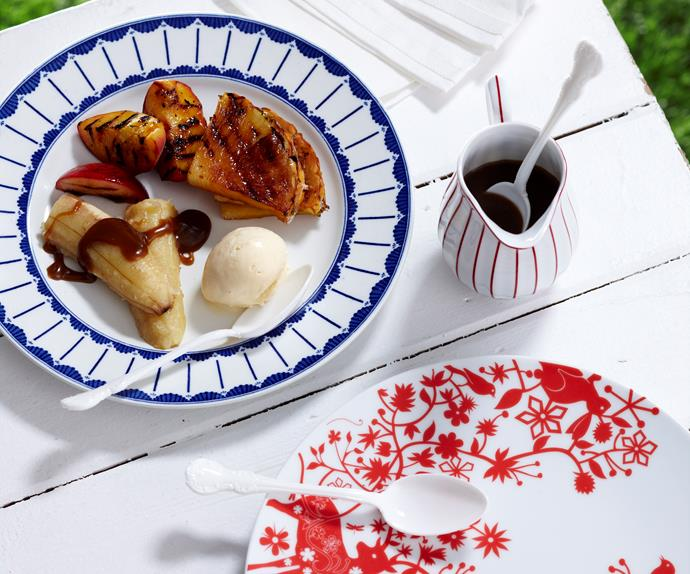 Barbecued tropical fruit with rum sauce