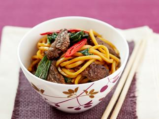 Beef, choy sum and noodles