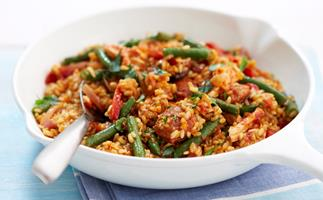 Brown rice paella