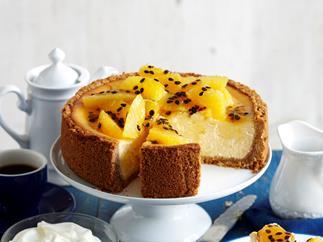 Baked orange and passionfruit cheesecake
