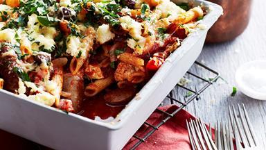 Italian sausage, olive and ricotta pasta bake