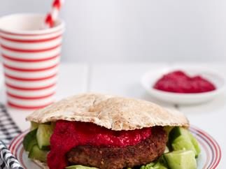 Lamb and beetroot pita burger