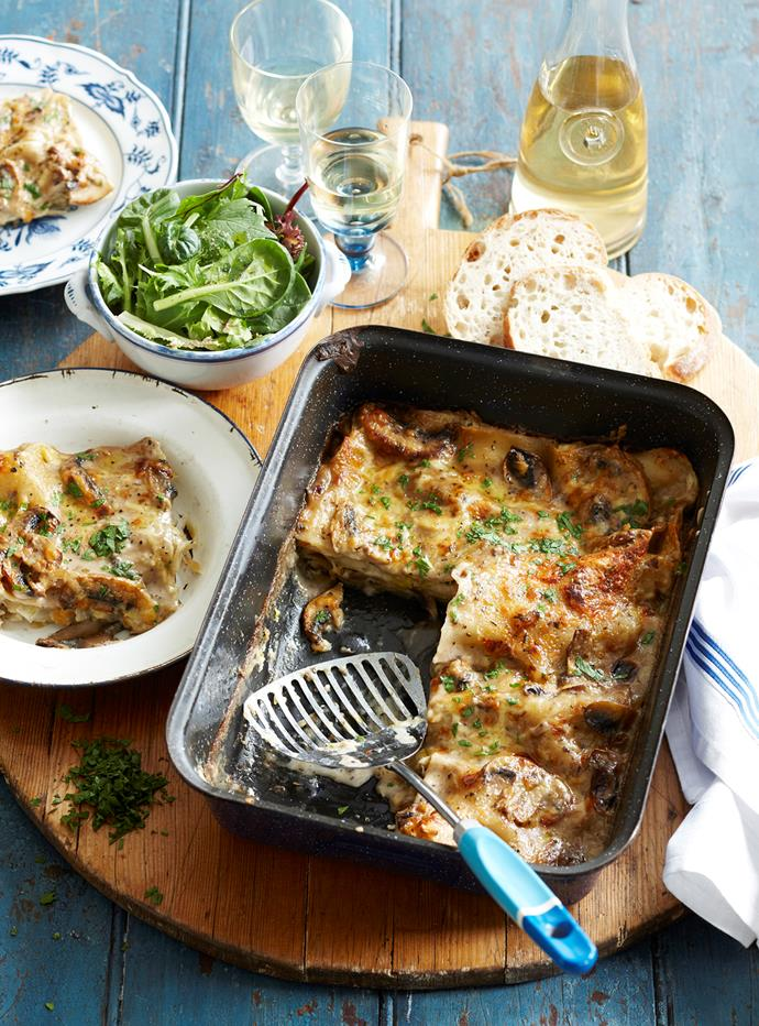 "Switch things up with this spin on the classic - delicious [leek and mushroom lasagne](https://www.womensweeklyfood.com.au/recipes/leek-and-mushroom-lasagne-7300|target=""_blank""). Perfect for any occasion, and packed full of flavour!"