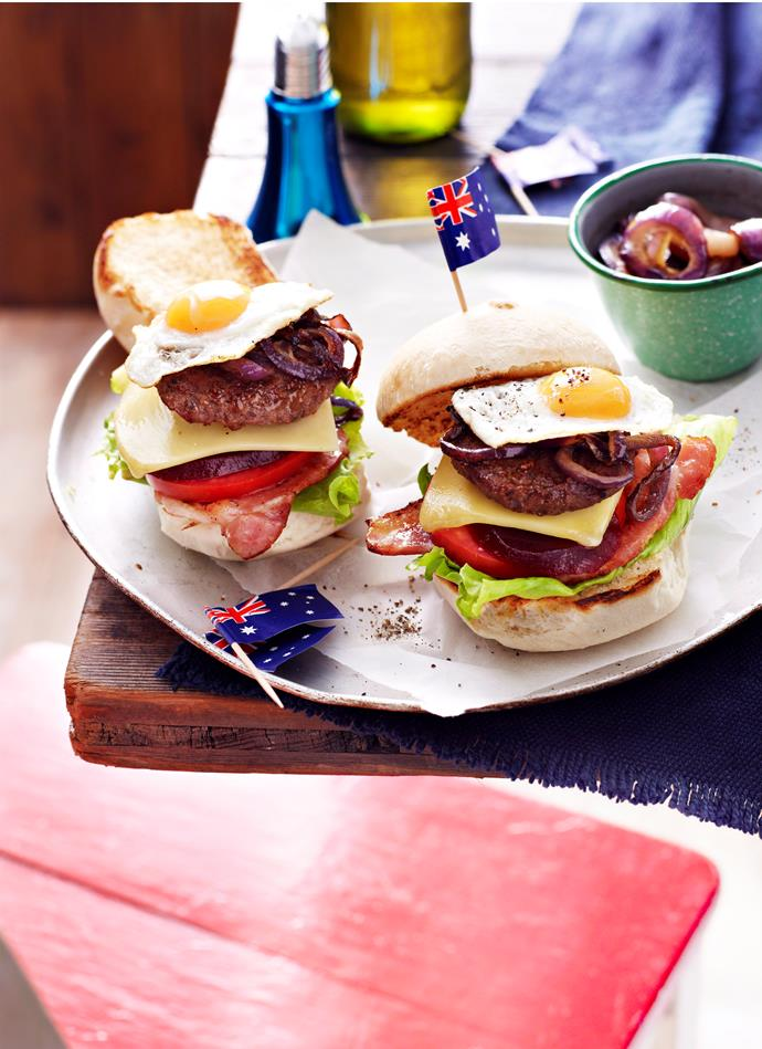 "**[Mini Aussie burgers with the lot](http://www.foodtolove.com.au/recipes/mini-aussie-burgers-with-the-lot-13498|target=""_blank"")**: It doesn't get more Australia than a burger with the works. Think crisp slices of bacon, caramelised onions and slices of beetroot (of course) all packed into soft bread rolls. It's downright delicious."