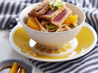 Orange Wasabi tuna and noodles