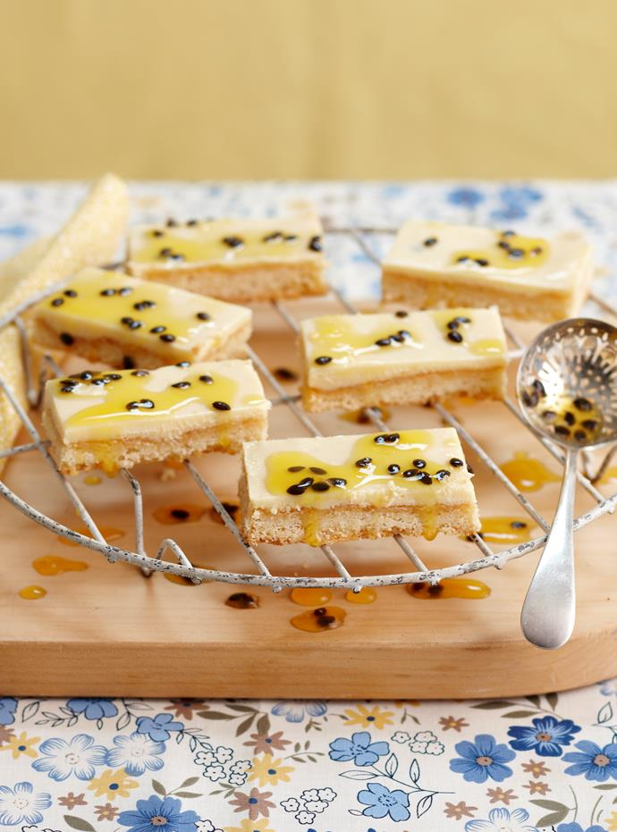 """**[Passionfruit slice](https://www.womensweeklyfood.com.au/recipes/passionfruit-slice-28306