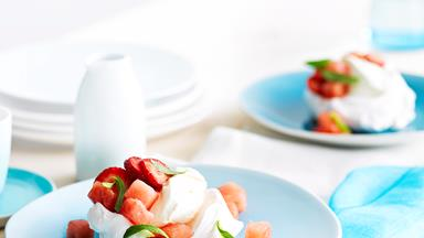 Pavlova nests with watermelon salad