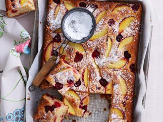Peach, raspberry and yoghurt slice