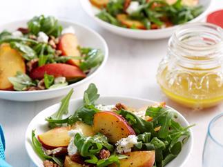 Peach, rocket and pecan salad