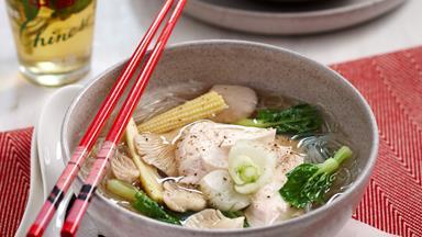 Poached chicken noodle soup