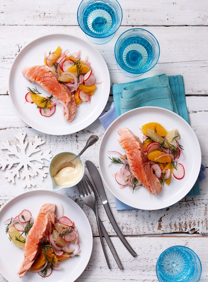 Poached salmon with citrus salad