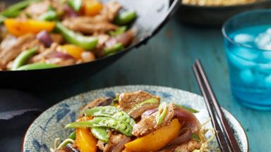 Pork and peach stir-fry