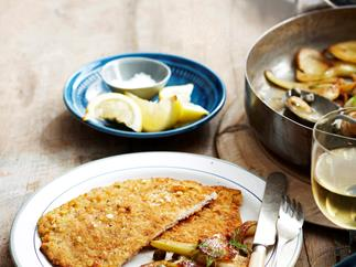 Pork and rosemary schnitzel with braised fennel