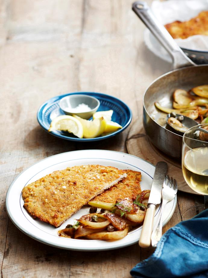 """[Pork and rosemary schnitzel with braised fennel](http://www.foodtolove.com.au/recipes/pork-and-rosemary-schnitzel-with-braised-fennel-3755