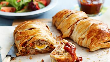 Pork and chutney pastry plaits