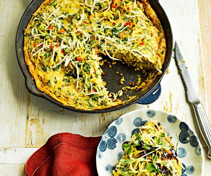 Pork and noodle omelette
