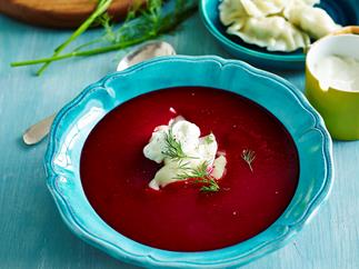 Beetroot soup with lemon and chicken dumplings