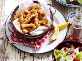 Crispy calamari with Greek salad