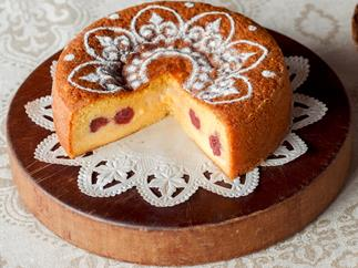 Sour cherry custard cake