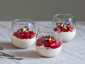 Coconut panna cotta with mulled strawberries