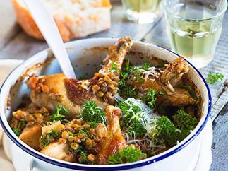 Dijon chicken with lentils