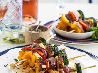 Haloumi and vegetable skewers