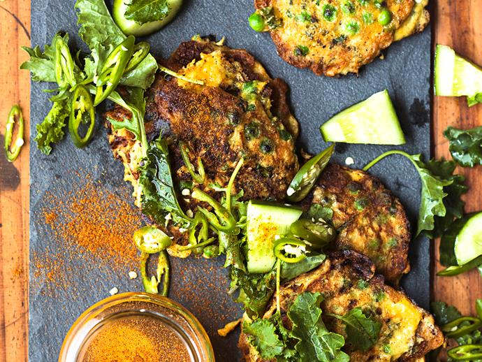 """**[Big green fritters with cayenne honey](https://www.womensweeklyfood.com.au/recipes/big-green-fritters-with-cayenne-honey-25392