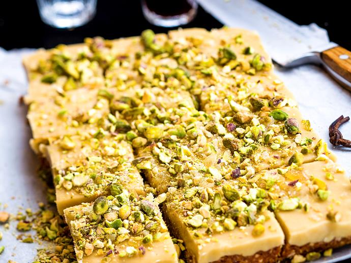 """**[Ginger and pistachio slice](https://www.womensweeklyfood.com.au/recipes/ginger-and-pistachio-slice-25035