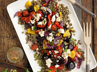 Roasted vegetable and green lentil salad