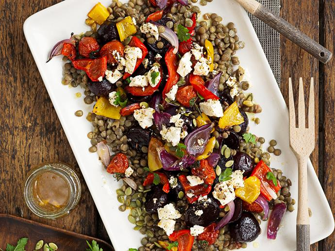 """**[Roasted vegetable and green lentil salad](https://www.womensweeklyfood.com.au/recipes/roasted-vegetable-and-green-lentil-salad-25409 target=""""_blank"""")**  Pulses, legumes, grains and seeds are great off-the-shelf staples that add bulk, fibre and valuable nutrients to your diet. Try these light and hearty recipes to kickstart a new way of cooking."""