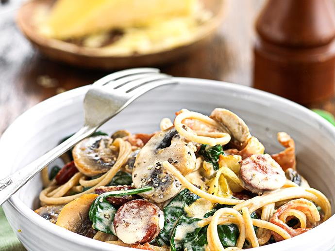 """**[Wholemeal spaghetti with creamy bacon and mushrooms](https://www.womensweeklyfood.com.au/recipes/wholemeal-spaghetti-with-creamy-bacon-and-mushrooms-25394