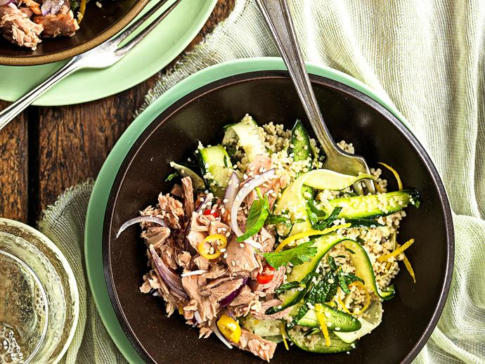 """[**Lemon tuna couscous salad**](https://www.womensweeklyfood.com.au/recipes/lemon-tuna-couscous-salad-25399 target=""""_blank"""") Salad ingredients can easily be added and substituted – use your imagination!"""