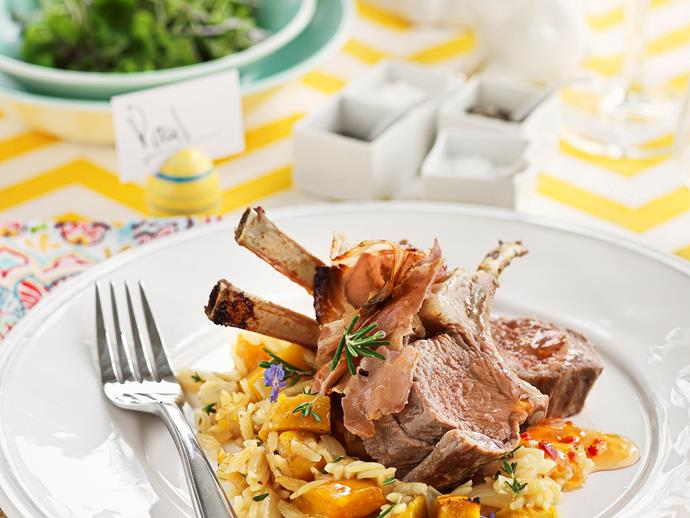 """**[Lamb racks and pancetta with baked kumara orzo](https://www.womensweeklyfood.com.au/recipes/lamb-racks-and-pancetta-with-baked-kumara-orzo-25411