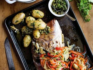 Barbecued whole snapper with peperonata and lil' perlas