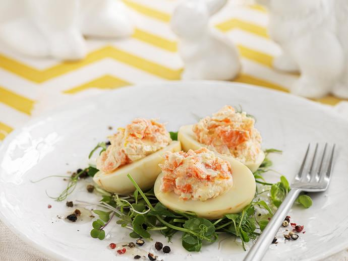 "**[Smoked salmon tea eggs](https://www.womensweeklyfood.com.au/recipes/smoked-salmon-tea-eggs-25416|target=""_blank"")**  Easter feast! Save room for this tempting celebratory spread. Stain eggs with a delicate pattern by soaking them in tea."
