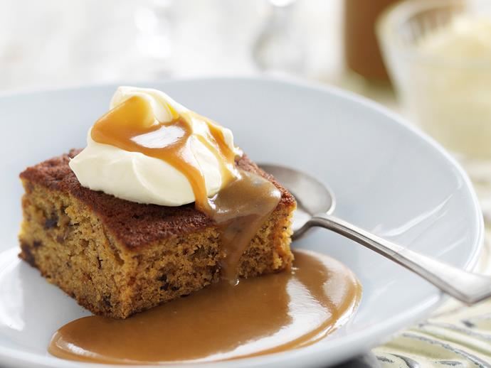 """**[Date and ginger cake with caramel sauce](https://www.womensweeklyfood.com.au/recipes/date-and-ginger-cake-with-caramel-sauce-25401