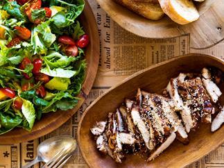 Five-spice barbecue chicken with mango citrus salad