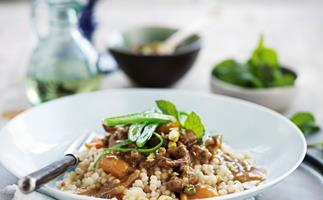 Moroccan lamb and apricots with scented pearl couscous