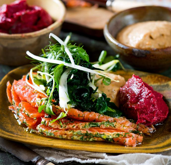 """**[Mezze platter with salmon gravlax](https://www.womensweeklyfood.com.au/recipes/mezze-platter-with-salmon-gravlax-25414