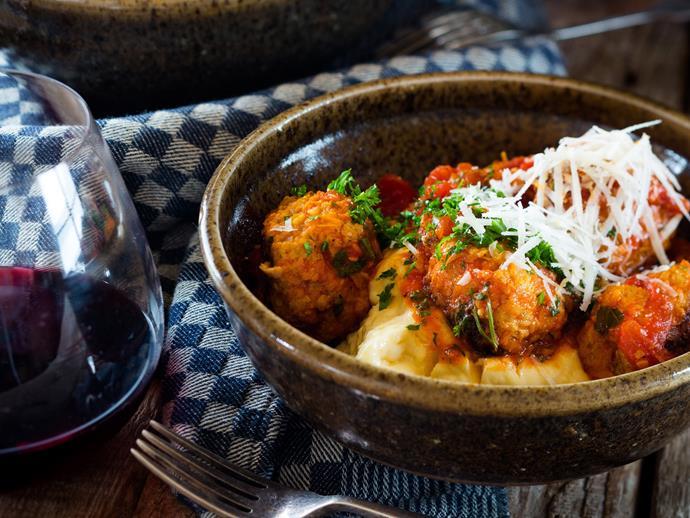 "[Meatballs with polenta](http://www.foodtolove.com.au/recipes/meatballs-with-polenta-4483|target=""_blank"")"