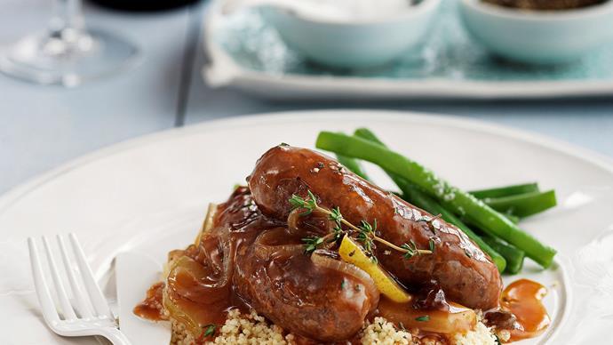 Homemade devilled sausages