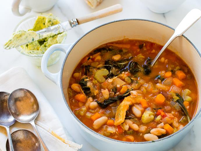 "**[Ribollita soup](https://www.womensweeklyfood.com.au/recipes/ribollita-soup-25788|target=""_blank"")**  Cook up a big batch to reheat at work for a warming winter lunch option."
