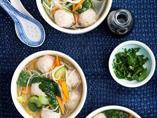 Chicken sausage dumplings in noodle soup