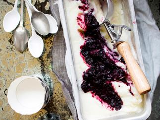 Blueberry yoghurt sorbet