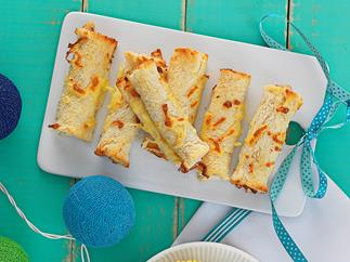 Tomato cheese and ham scrolls