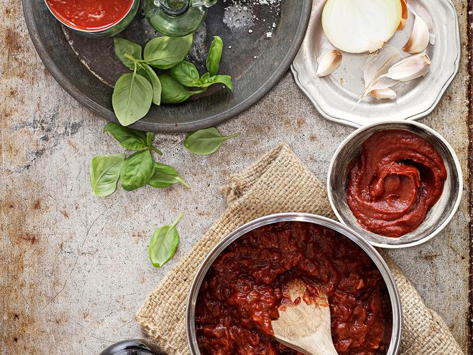 """[Classic tomato pizza sauce](https://www.womensweeklyfood.com.au/recipes/classic-tomato-pizza-sauce-25792