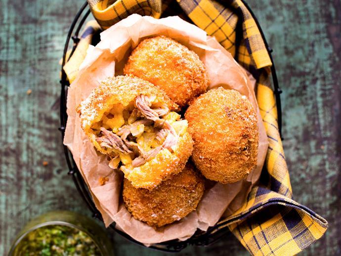 "**[Lamb and pumpkin arancini balls with dijon salsa verde](http://www.womensweeklyfood.com.au/recipes/lamb-and-pumpkin-arancini-balls-with-dijon-salsa-verde-25794|target=""_blank"")**  The crispy coating hides a soft heart of pumpkin, rice and tender shredded lamb."