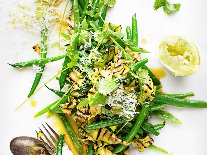 """In this [courgette and green bean salad](https://www.foodtolove.co.nz/recipes/courgette-and-coriander-salad-1-28130