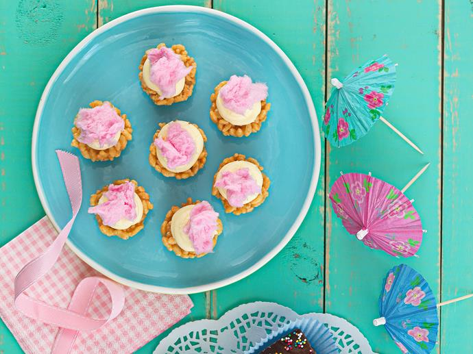 "**[Rice bubble cupcakes with fairy floss](https://www.womensweeklyfood.com.au/recipes/rice-bubble-cupcakes-with-fairy-floss-25800|target=""_blank"")**  They'll make any children's party go off with a bang."